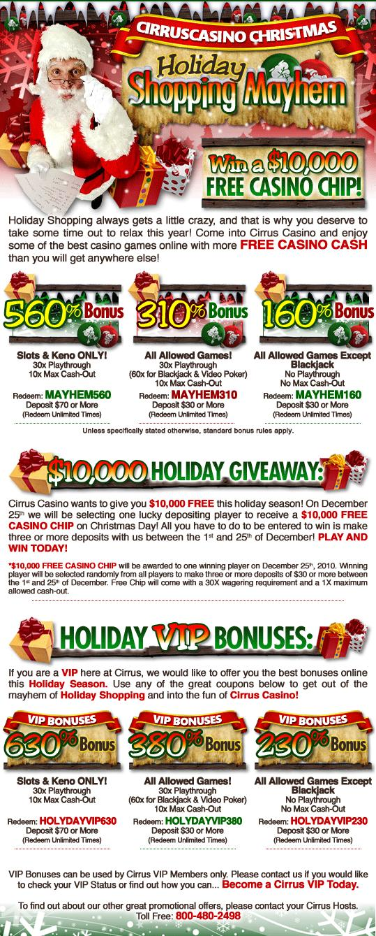 Cirrus wants to kick halloween off early with some of the craziest bonus, specials we have everer offered! start your october with lots of fun, games, and TONS OF FREE CASH!!