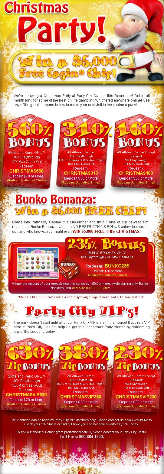 Party City Casino Monthly and Vip bonus