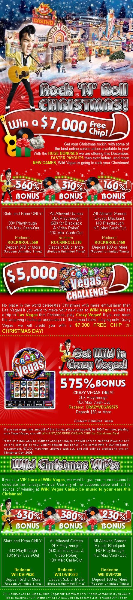Wild Vegas Casino Monthly and Vip bonus