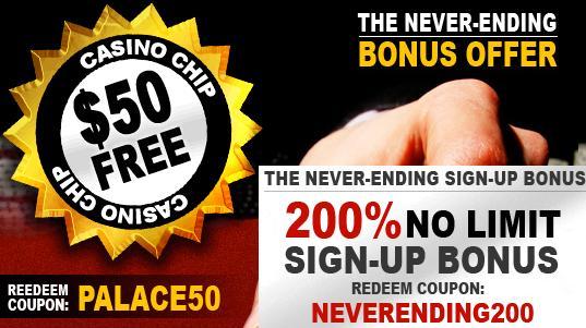 Palace of Chance Casino  No deposit casino bonus