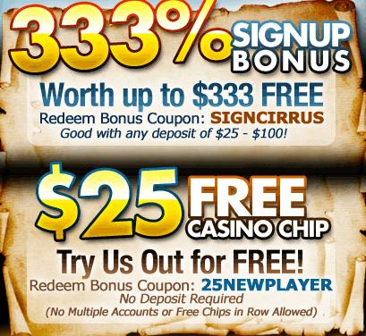 Cirrus casino no deposit bonus codes may 2013 sun palace casino bonus codes