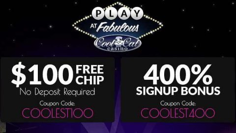 Cool Cat Casino $100 Free Chip and 400% Welcome Bonus