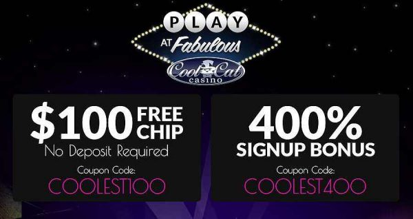 Cool Cat Casino $ 100 de fichas gratis y 400% de bonificación de bienvenida