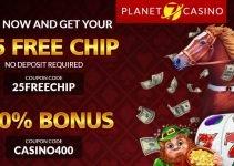$25 No deposit bonus at Planet 7 Casino June/2018
