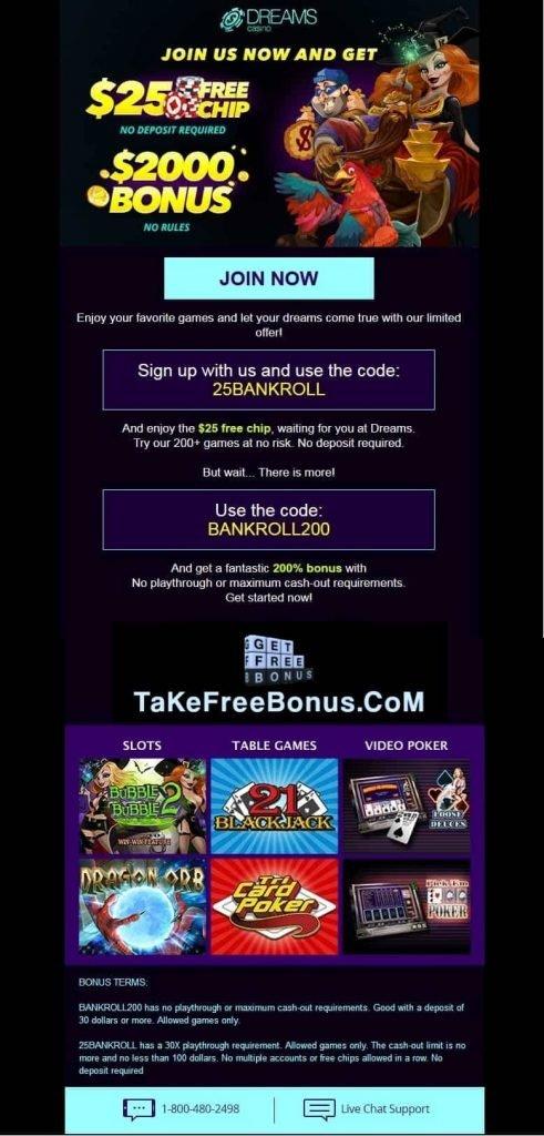 Review of dreams casino no deposit bonus